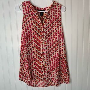 Cynthia Rowley sleeveless geometric blouse size M